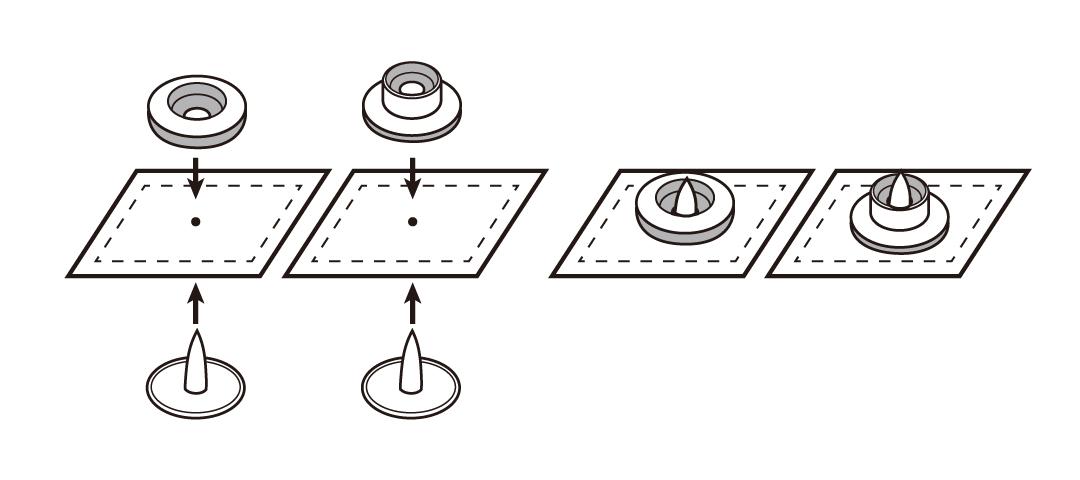 プラスチックスナップの取付け方02  「プロ仕様」の手芸用品 - CHERRY LABEL